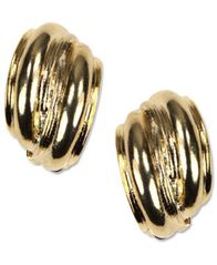 Image of Anne Klein Earrings, Gold-Tone Button E-Z Comfort Clip On Earrings