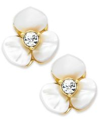 Image of kate spade new york Earrings, Gold-Tone Cream Disco Pansy Flower Stud Earrings