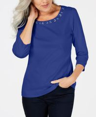 Image of Karen Scott Cotton Lace-Through-Neck Top, Created for Macy's