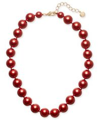 "Image of Charter Club Gold-Tone Red Imitation Pearl Collar Necklace, 16"" + 2"" extender, Created for Macy's"