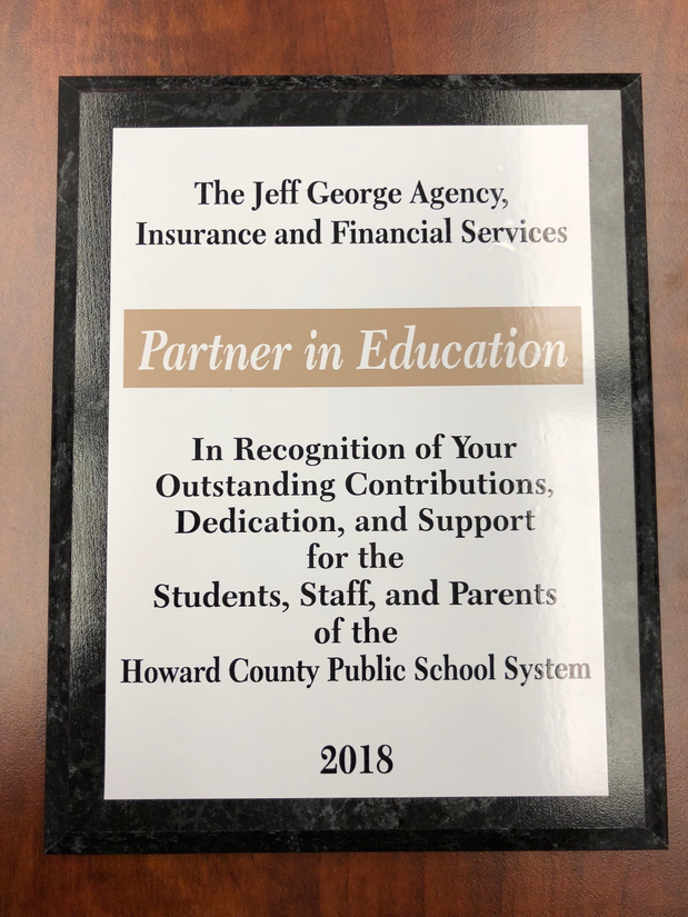 HCPSS Partner in Education Plaque