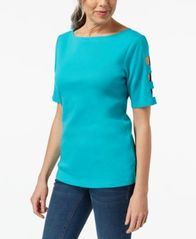 Image of Karen Scott Cotton Cutout Top, Created for Macy's
