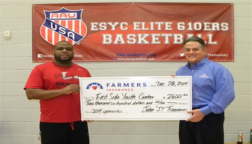 I presented a check to Marlon Thomas from East Side Youth Center (ESYC) Board of Governors.