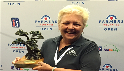 Check out the Farmers® Insurance Open trophy!