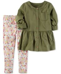 Image of Carter's 2-Pc. Peplum Tunic & Leggings Set, Baby Girls (0-24 months)