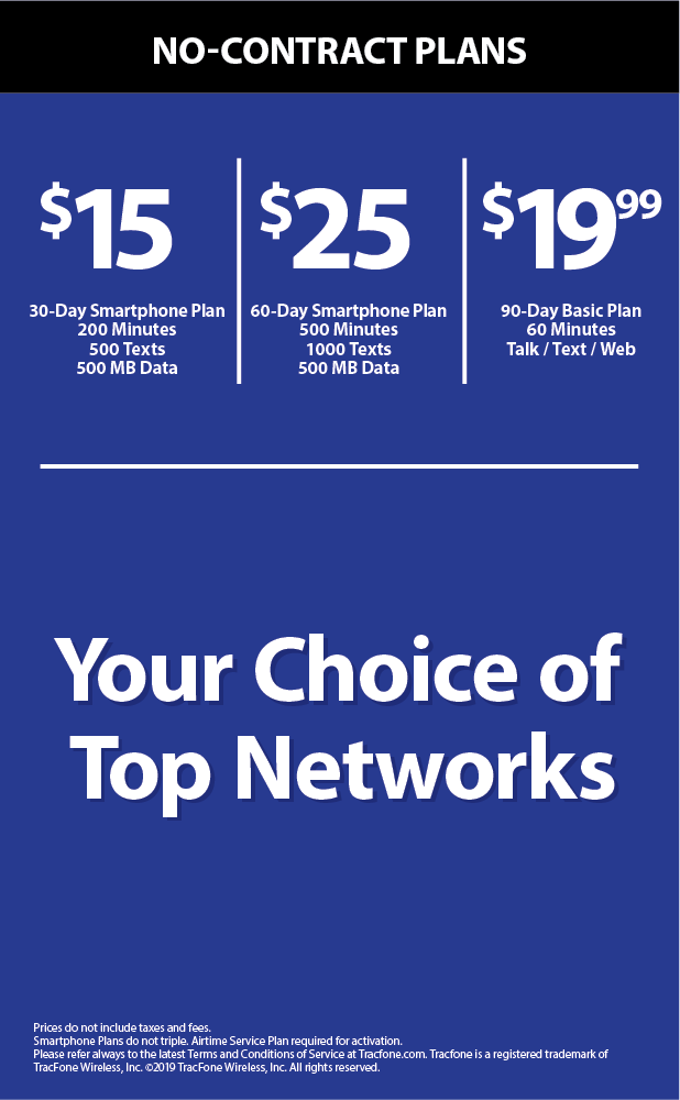 Tracfone Wireless Phone Plans Chart