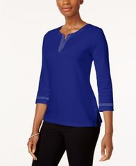 Image of Karen Scott Cotton Studded T-Shirt, Created for Macy's