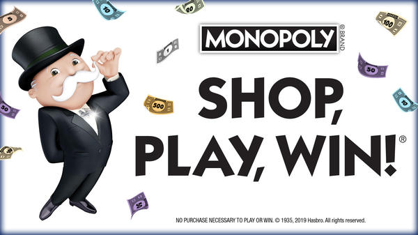 "Monopoly man. ""Shop, Play, Win!"""