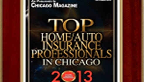 "A plaque that reads, ""Top Home/Auto Insurance Professionals in Chicago 2013"""