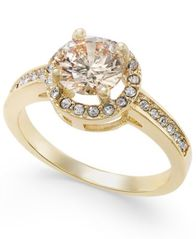 Image of Charter Club Gold-Tone Pavé Halo Ring, Created for Macy's