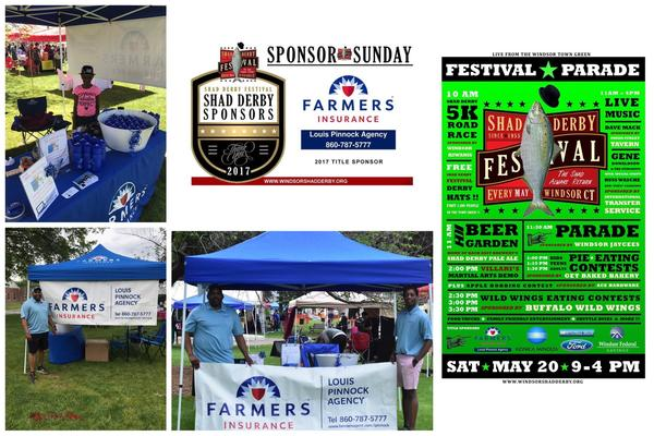 A collage that prominently features a blue Farmers tent