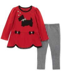 Image of Kids Headquarters Baby Girls 2-Pc. Scottie Dog Tunic & Checked Leggings Set