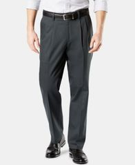 Image of NEW Dockers Men's Signature Lux Cotton Classic Fit Pleated Stretch Khaki Pants