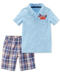 Image of Carter's 2-Pc. Polo Shirt & Plaid Shorts, Baby Boys