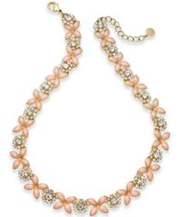 Image of Charter Club Gold-Tone Crystal & Pink Stone Collar Necklace, Created for Macy's