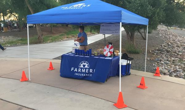 Farmers booth at football game