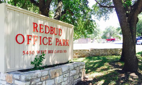 Business sign for the Redbud Office Park.