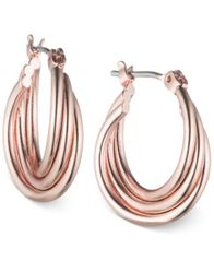 Image of Nine West Rose Gold-Tone Twisted Hoop Earrings