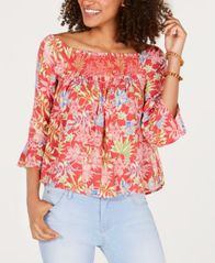 Image of Roxy Juniors' Off-The-Shoulder Smocked Top