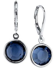 Image of 2028 Silver-Tone Faceted Blue Crystal Drop Earrings, a Macy's Exclusive Style