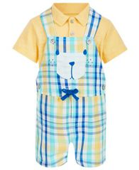 Image of First Impressions Baby Boys 2-Pc. Polo & Plaid Bear Shortall Set, Created for Macy's