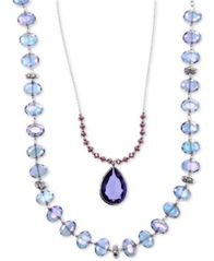 Image of lonna & lilly Silver-Tone Blue Bead 2-in-1 Necklace