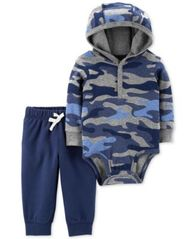 Image of Carter's Baby Boys 2-Pc. Cotton Hooded Camo-Print Bodysuit & Jogger Pants Set