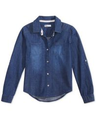 Image of Epic Threads Big Girls Chambray Button Down Shirt, Created for Macy's
