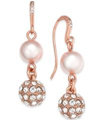 Image of Charter Club Rose Gold-Tone Pavé & Imitation Pearl Double-Drop Earrings, Created for Macy''s