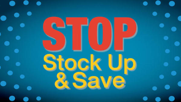 Blue background with lighter blue spots.  In the middle it says STOP Stock Up and Save