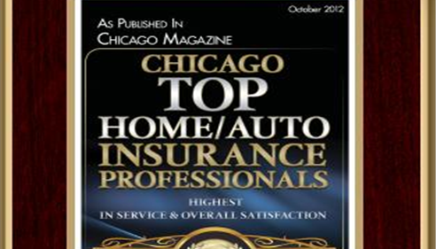 "A plaque that reads, ""Chicago Top Home/Auto Insurance Professionals"""
