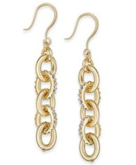 "Image of Charter Club Medium Gold-Tone Pavé Link Linear Drop Earrings, 1.5"", Created for Macy's"