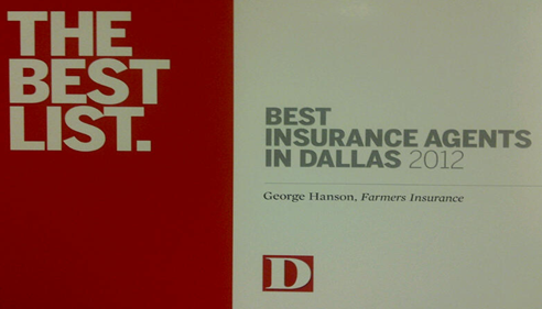 We are in D Magazine's 'Best Insurance Agents in Dallas' list for 2012!