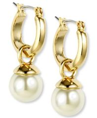 "Image of Anne Klein Gold-Tone Imitation Pearl Drop Off 1/2"" Hoop Earrings"