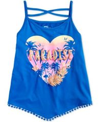 Image of Epic Threads Big Girls Pom Pom Trim Paradise Tank Top, Created for Macy's