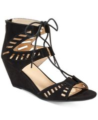 Image of Material Girl Halona Perforated Wedge Sandals, Created for Macy's