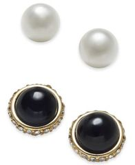 Image of Charter Club Gold-Tone 2-Pc. Set Pavé & Imitation Pearl Stud Earrings, Created for Macy's