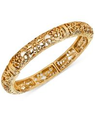 Image of 2028 Gold-Tone Filigree Stretch Bangle Bracelet, a Macy's Exclusive Style