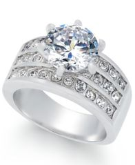 Image of Charter Club Silver-Tone Crystal Triple-Row Ring, Created for Macy's