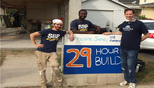 David with Nick (l) and Koffi (c), of the St. Bernard Project, in Keansburg, NJ