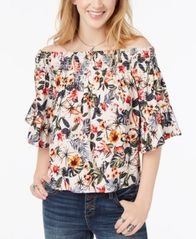 Image of Polly & Esther Juniors' Smocked Printed Off-The-Shoulder Top