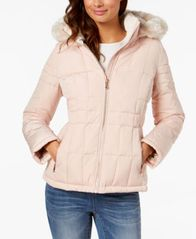 Image of Calvin Klein Faux-Fur-Trim Hooded Puffer Coat