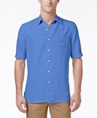 Image of Tasso Elba Men's Silk and Linen Blend Crosshatch Short-Sleeve Shirt with Pocket, Created for Macy's
