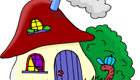Cartoon of a worm wearing a hat in front of a small cottage