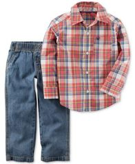 Image of Carter's 2-Pc. Cotton Plaid Shirt & Jeans Set, Baby Boys (0-24 months)