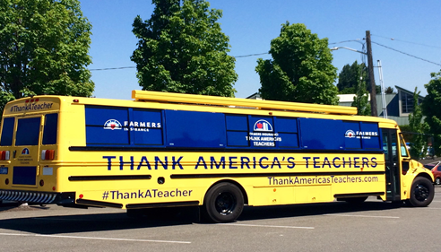 The Farmers® Insurance Thank America's Teachers Bus visiting Ballard, Seattle