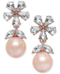 Image of Charter Club Crystal & Imitation Pearl Drop Earrings, Created for Macy's