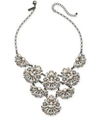 "Image of I.N.C. Black-Tone Crystal Cluster Statement Necklace, 17"" + 3"" extender, Created for Macy's"