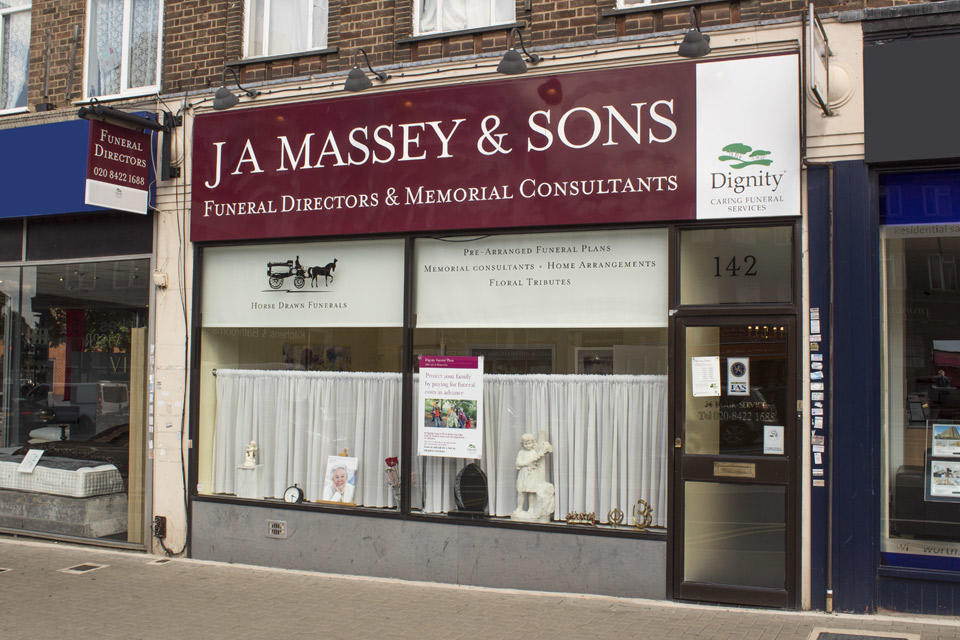 J A Massey & Sons Funeral Directors in Harrow, Middlesex.