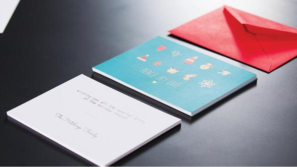 Holiday cards on a table